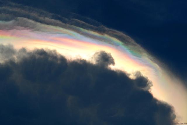 Iridescence across pileus clouds at sunset